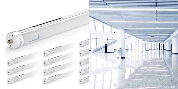 1. Hyperikon T8 T10 T12 8ft LED Tube Lights (12 Pack)