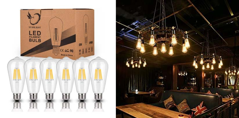 Antique LED Bulbs Soft Warm White 2700K, 6W ST64 Dimmable Vintage Edison LED Candelabra Bulbs