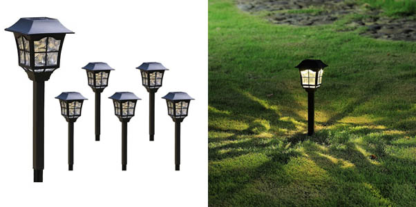 Black Vintage Solar Pathway LED Lights Outdoor