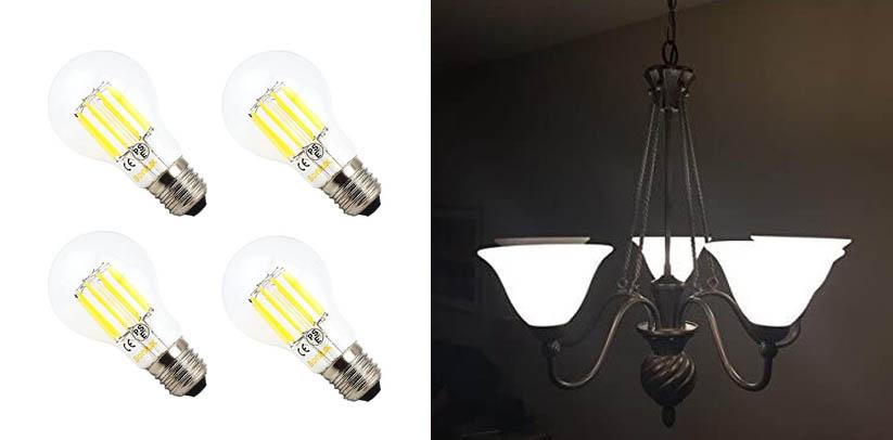 Bonlux 10W A19 Edison Style Vintage LED Filament Bulb Candelabra Light