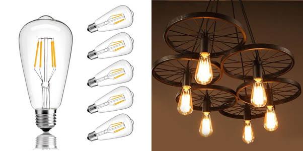 CMYK Vintage Edison LED Bulb, Dimmable 4W ST64 Antique LED Bulb