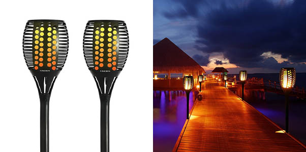 Cinoton Solar Light Path Torches Flickering Flame Lighting