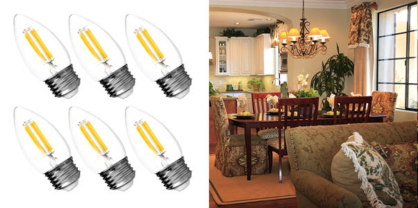 Hyperikon LED Edison Blunt Tip Filament B11 Candle Bulbs