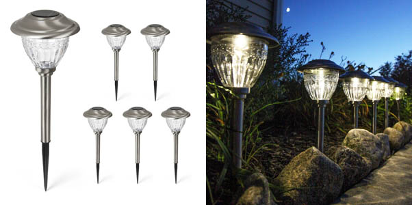 LampLust Solar Stainless Steel Path Lights