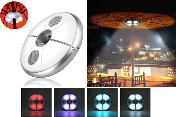 Multi Coloured Patio LED Umbrella Light with Bluetooth Speaker