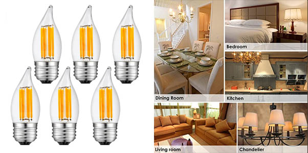 SUNMEG 6W Dimmable LED Candelabra Bulb