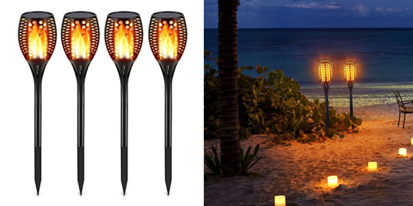 TomCare Flickering Flames Torches Lights Outdoor Solar Spotlights