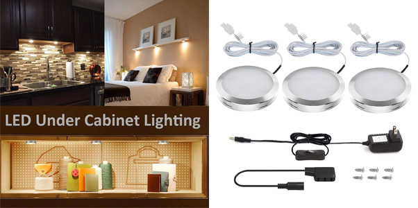 8. Lighting Ever Under Cabinet Lighting Kit, Puck Lights
