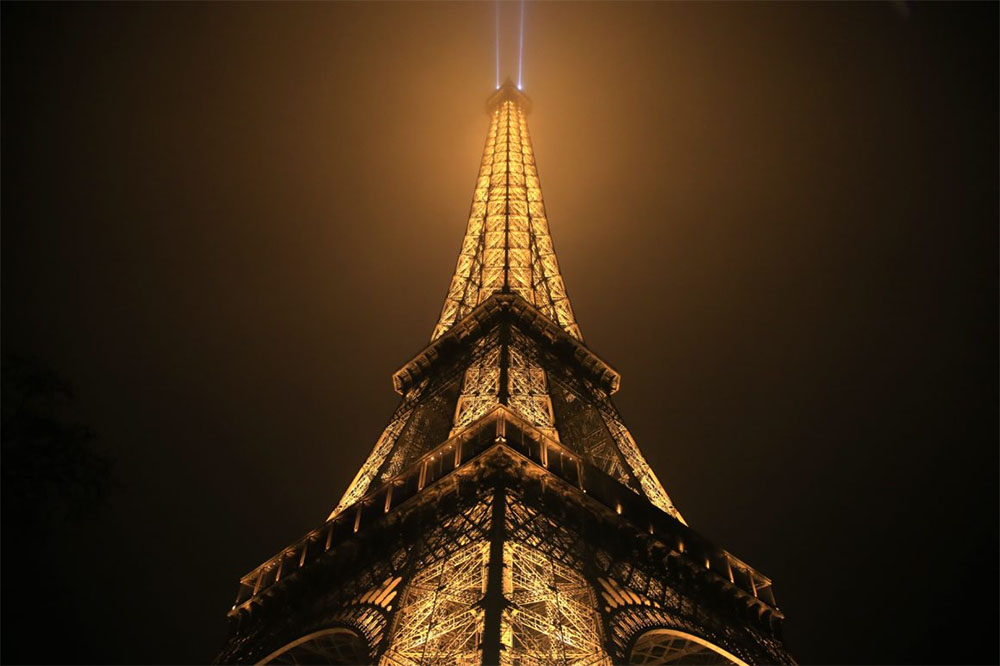 The Eiffel Tower Light Show at Night
