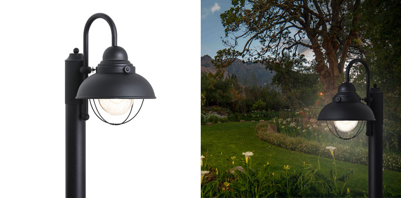 10. Sea Gull Lighting Seabring One-Light Outdoor Post Lantern