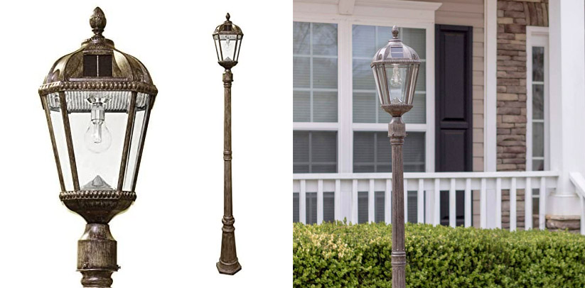 2. Gama Sonic Royal Bulb Outdoor Solar Powered Lamp Post Lights