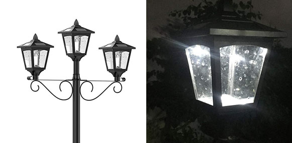 6. Kanstar 72-inch Street Vintage Outdoor Garden Triple Solar Lamp Post
