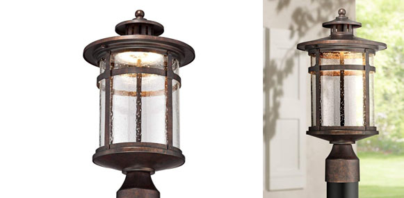 7. Franklin Iron Works Callaway 15.5 Inch High Rustic Bronze LED Outdoor Post Light