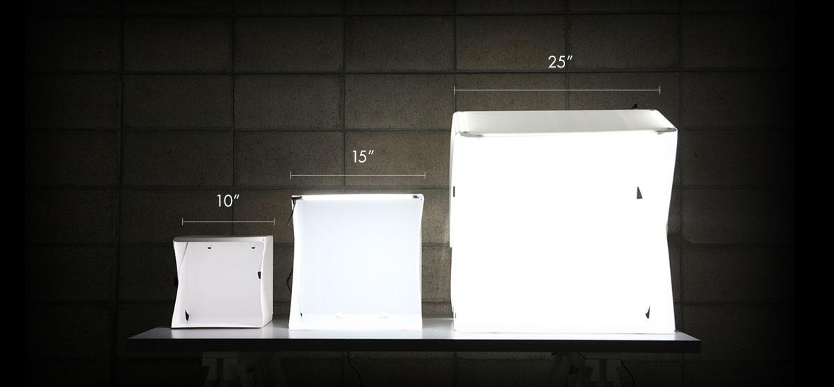Available Sizes of Foldio Light Box