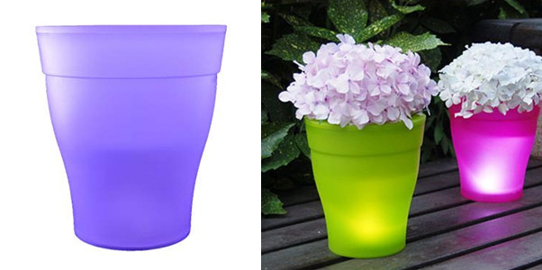 Flower Pot Outdoor Indoor Plastic Garden Flower Decoration LED