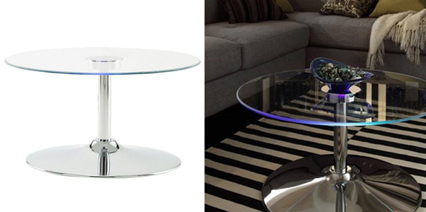 Inspire Q Round Glass Coffee Table with LED Edge Accent