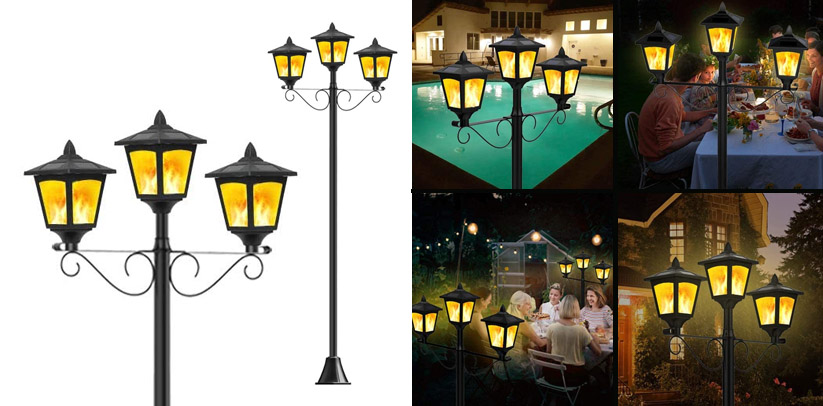 Noma Outdoor Victorian Solar Outdoor Lamp Post