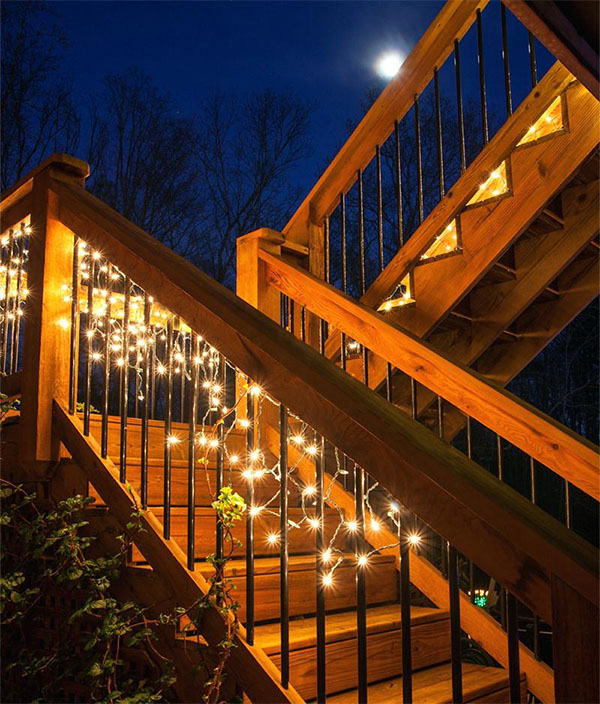 String Lights Around Stairs