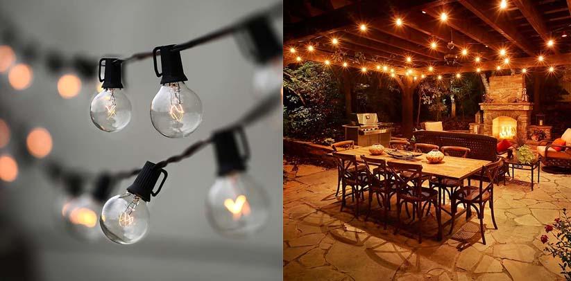 String Lights, Lampat 25Ft G40 Globe String Lights