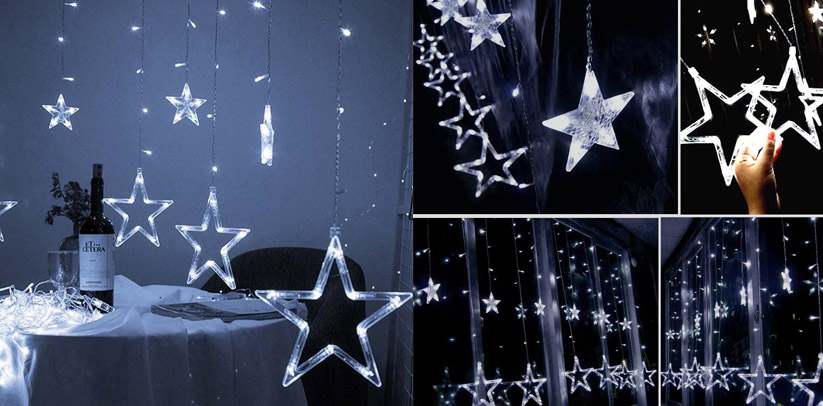 Twinkle Star 12 Stars Curtain Indoor String Lights
