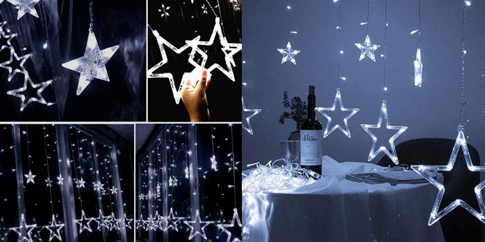Twinkle Star 12 Stars Indoor Curtain String Lights
