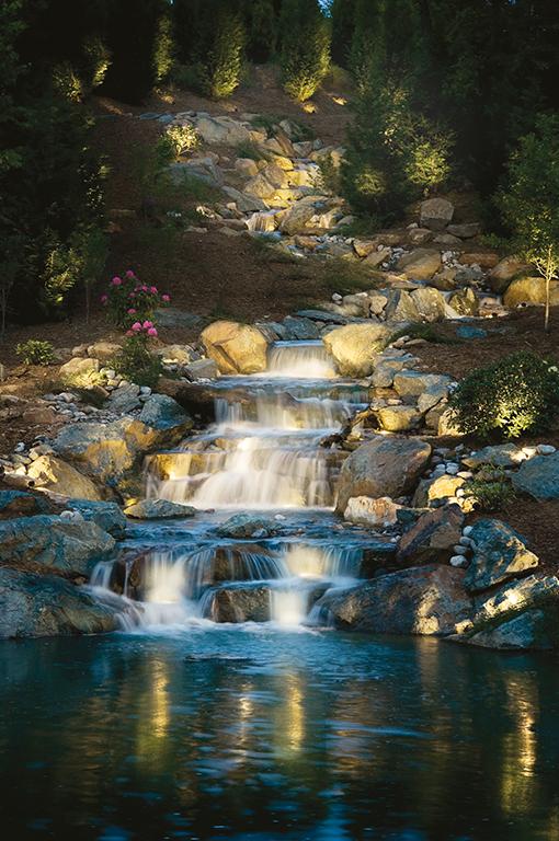 Waterfall Pond Lighting Ideas