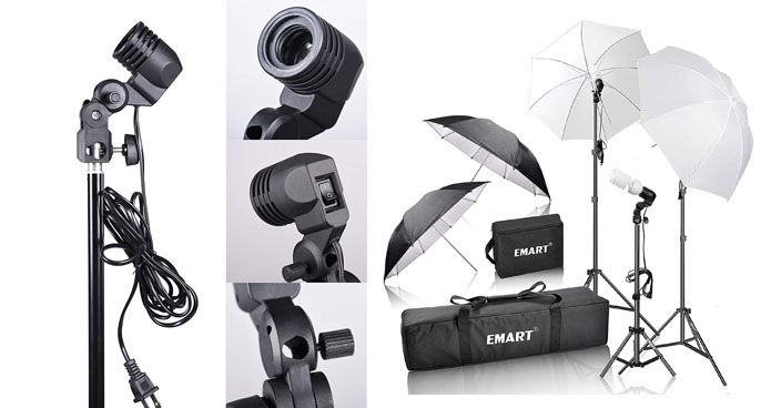3. Emart 600W Studio Photography Portrait Photo Umbrella Kit