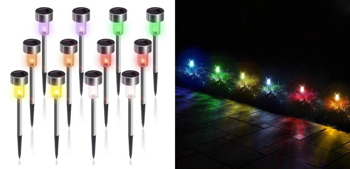 3. Gigalumi 12 x Six Colour Solar Pathway Lights