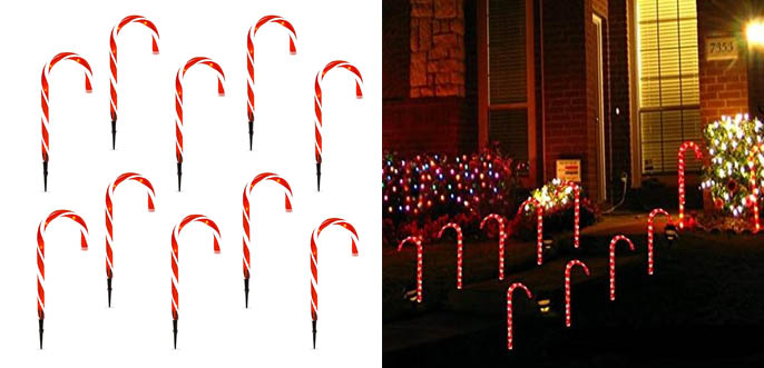 5.Best Choice Christmas Candy Cane Pathway Lights