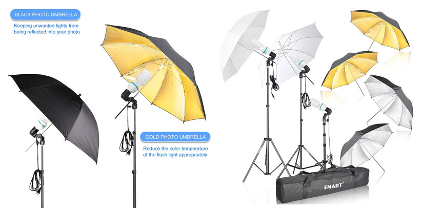 5. Emart Photography Gold Black Umbrella Light Kit Review