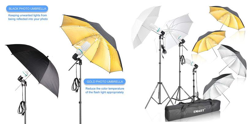 5. Emart Photography Gold Black Umbrella Light Kit Review