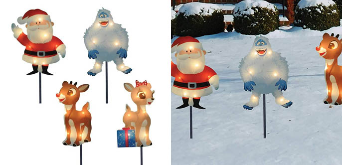 6.ProductWorks Rudolph and Friends Christmas Pathway Lights