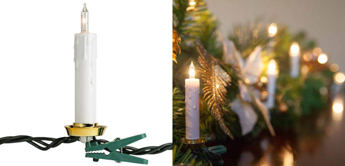 Christmas Candle String Lights With Tree Clips