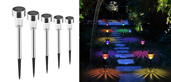 GELOO Solar Lights Outdoor, 6 Pack Color Changing Solar Pathway Lights
