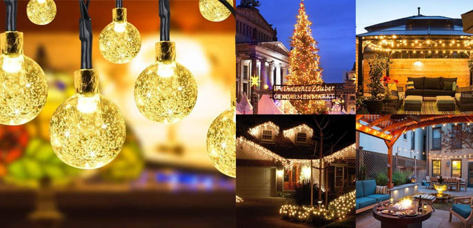 Globe Solar Outdoor and Indoor Christmas String Lights