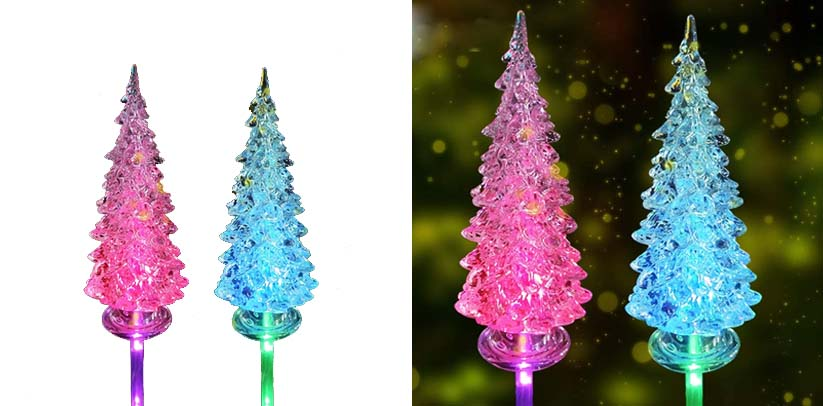 Idefair Solar Garden Lights 2 Pack, Outdoor Multi-Color Changing LED Pathway Christmas Stake Lights
