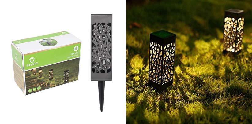 Maggift 8 Pcs Solar Powered LED Christmas Garden Pathway Lights