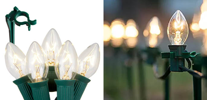 Pack of 100 C7 Christmas Pathway Driveway Lights
