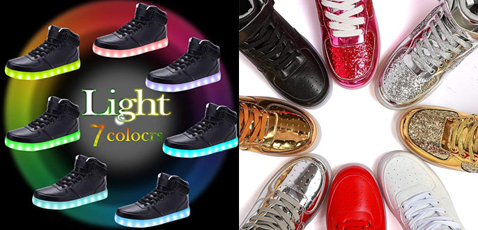 1.Odema High Top USB Charging LED Shoes Flashing Adult Sneakers