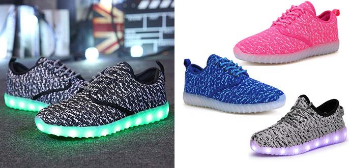 3. Joansam 7 Color Unisex Sneakers USB Charging LED Light Up Shoes