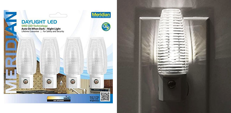 5. Meridian Electric LED Auto Night Light 4-Pack