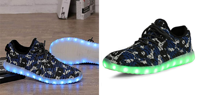 5. Camouflage Mesh Light Up LED Sport Shoes