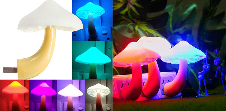 7. AUSAYE LED Night Light Plug-in Lamp Mushroom
