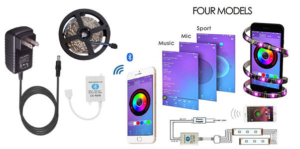 9. TopMax LED strip Plights Bluetooth Smartphone Controlled