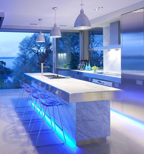 Blue Kitchen Accent Lighting