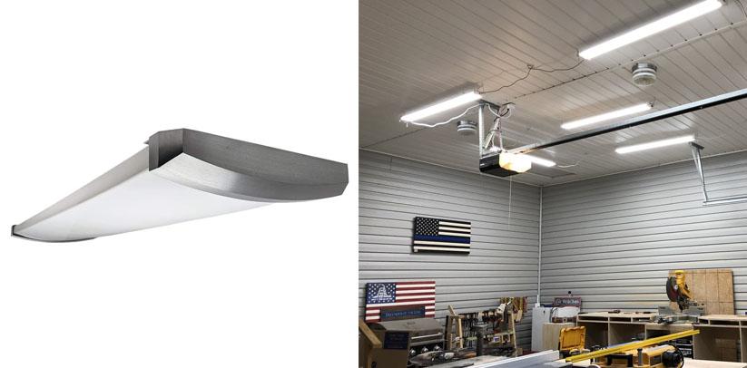 Orilis 4 Ft 4-Light 96W Premium Brushed Nickel Flush Mount Hardwired LED Ceiling Shop Lights