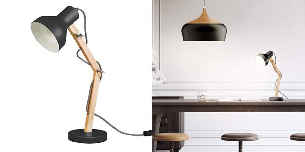 4. Tomons Wood Adjustable Head Desk Lamp