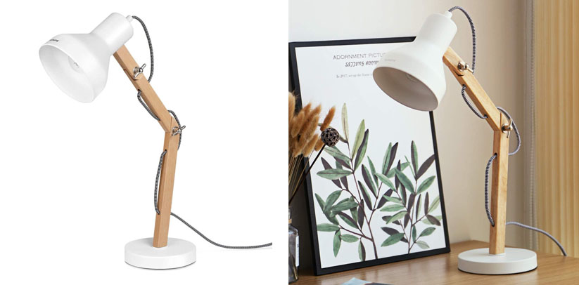 Tomons Wood Adjustable Head Desk Lamp