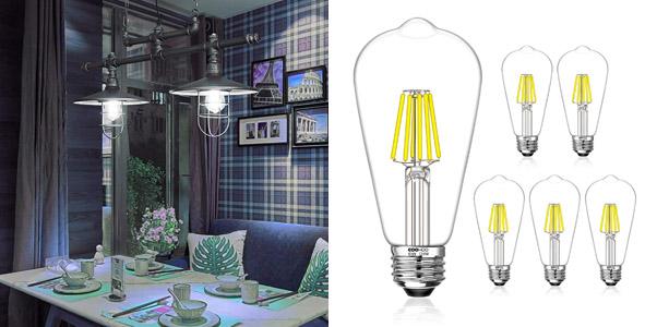 2. COOWOO 5000K LED Edison Bulb