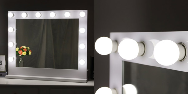 Chende White Dimmer Tabletop Mirror